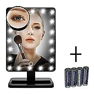 [New Version] Makeup Mirror, FLYMEI Touch Screen 20 LED Lighted Vanity Mirrors with Removable 10x Magnifying Mirrors,...