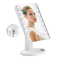 16 LED Makeup Mirror with USB Charging Touch Screen Dimming Cosmetic Mirror 180 Degree Rotation Adjustable Stand Cosm...
