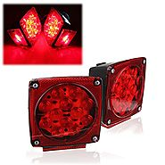 AUDEW Pair Square Tail Brake Lights Kit Water Resistant LED Side Marker for Boat/ Trailer Stop License Tail Brake