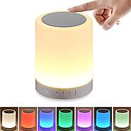Night Light Bluetooth Speaker, SHAVA Portable Wireless Bluetooth Speakers Touch Control Color LED Speaker Bedside Tab...