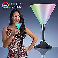 Light Up Frosted Martini Glasses with Black Base & Color Changing LED Lights (Set of 12)