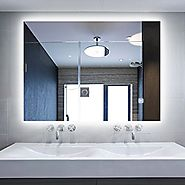 Holiday Bonus! Hans&Alice Brand New LED Wall Vanity Mirror Lighted Backlit Bathroom Silvered Mirror, 32''24''