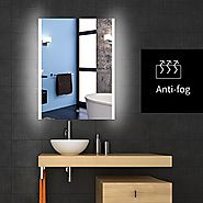 Backlit Lighted LED Bathroom Vanity Mirror Frameless Wall Antifogging Mirror Illuminated Rectangle