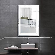 28 x 36 In Vertical LED Bathroom Silvered Mirror with Touch Button (C-CK160-I)