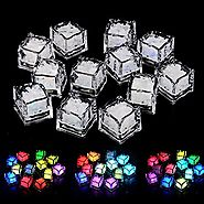 LUCKSTAR® Simulation Ice Cube, 12PCs Plastic Multi-Color Luminous Ice Cube with Colorful Light for Halloween Party We...