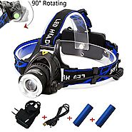 Rechargeable Headlamp,1800 Lumens Zoomable Waterproof LED head lamp flshlight , Hands-free Headlight Torch Lamp for H...