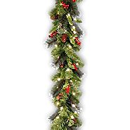 National Tree 9 Foot by 10 Inch Crestwood Spruce Garland with Silver Bristle, Cones, Red Berries and 50 Clear Lights ...