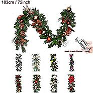 Valery Madelyn Pre-Lit 72 Inch/6Feet Woodland Christmas Garland with Shatterproof Ball Ornament and Pine Cone, Batter...