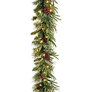 "National Tree 9 Foot by 10 Inch ""Feel Real"" Colonial Garland with Red Berries and Cones (PECO4-306-9A-1)"