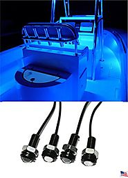 4x Blue LED Boat Light Waterproof 12v Deck Storage Kayak Bow Trailer Bass