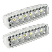 LeaningTech White Spreader LED Deck/Marine Lights (Set of 2) for Boat (Flood Light) 12V 18W