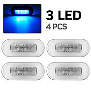 "4pcs 3"" Blue LED Oblong Courtesy Light Yacht Marine Boat Stair Deck Garden Usage Clear Lens"