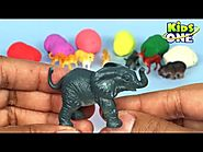 Learn Animals Names with Play Doh Surprise Toys Collection for Children