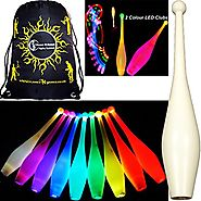 3x One-Piece LED GLOW Juggling Clubs Set of 3 (26 Colour Variations!) + Flames N Games Travel Bag! Quality Training G...