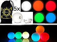 5x Pro LED Glow Juggling Balls - Ultra-Bright - MIX COLORS- Battery Powered Glow LED Juggling Ball Set of 5 with Draw...
