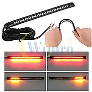 "Wiipro Universal led Harley Davidson Light Strip Tail Brake Stop Turn Signal 32LED 8"" Flexible led light for motorcycle"
