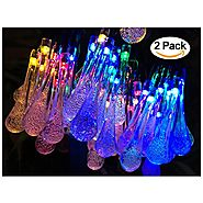 2 Pack Solar Strings Lights, Lemontec 20 Feet 30 LED Water Drop Solar Fairy Lights, Waterproof Lights for Garden, Pat...