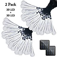 Vmanoo Christmas Decorative Solar Powered Lights, 30 LED 19.7ft 8 Modes Water Drop Fairy String light for Outdoor Ind...