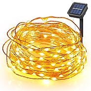 Boomile Waterproof Solar String Lights 8 Modes 100 LEDs 33ft Copper Wire Lights Starry Fairy String Lights Ambiance L...