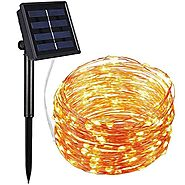 AMIR Solar Powered String Lights, 100 LED Copper Wire Lights, Starry String Lights, Indoor/ Outdoor Waterproof Solar ...