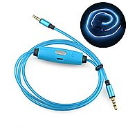 Light Up AUX Cord, LED Flashing Auxiliary Cable with Microphone, Glow-in-the-Dark Audio Cable with 3.5mm Stereo Jack ...