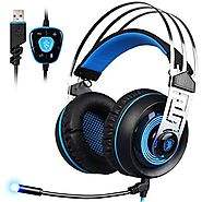 SADES A7 7.1 Virtual Surround Sound USB Gaming Headset with Microphone Intelligent Noise Cancelling LED Light for Lap...