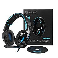 Gaming Headset ,SADES 902 7.1 Surround Sound PC Headsets USB Over-ear Gaming Headphones with Microphone LED Light