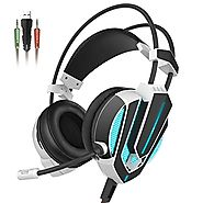 Honstek G9 Gaming Headset, USB and 3.5mm Stereo Surround LED Lighting Vibration Headphones with Microphone and Volume...