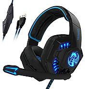 I8 3.5mm Wired PC Over-Ear Stereo Gaming Headset Headphones with Mic, LED Light, Volume Control, Noise Reduction for ...