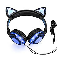Wired Cat Ear Headphones Glowing Lights with USB Charging Cable (Black)
