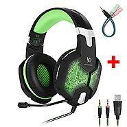 Gaming Headset with Microphone,PC Gaming Headphones Bass Stereo Over-ear Colors Breathing LED Light Noise Isolation f...