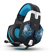 Kzon 3.5mm Stereo Over-ear Gaming Headphone with Noise Isolation, Volume Control, Mic and 7 Colors Breathing LED Ligh...