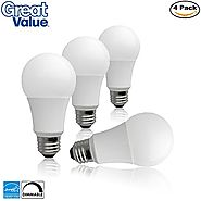 (4 Pack) Great Value Dimmable LED A19 60W Replacement Light Bulbs in Daylight White with Medium Screw-In Base (10W, E...