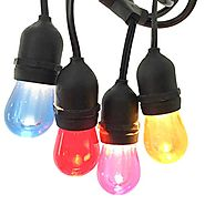 Generalight LED Café String Lights (48ft.),15 Changing Lifetime Acylic Bulbs,Weatherproof, Shatterproof, Commercial G...