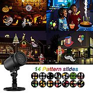 Christmas Projector Light , Party LED Projector Lights Switchable Slides/14 Patterns Decorative Light for Halloween T...
