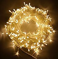 100ft/30m Warm White 300 LED Outdoor & Indoor Battery Fairy Lights w/ Remote & Timer, Waterproof (8 Modes, 4 x AA bat...