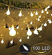 100 LED Globe String Lights, Ball Christmas Lights, Indoor / Outdoor Decorative Light, USB Powered, 39 Ft, Warm White...