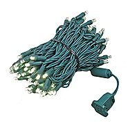 Novelty Lights 100 Light LED Christmas Mini Light Set, Outdoor Lighting Party Patio String Lights, Warm White, Green ...