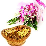 Flowers and Dry fruits Combo | FlowersCakesOnline
