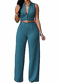 Roswear Women's Sexy Plunge V Neck Belted Wide Leg Jumpsuits Romper Jade X-Large