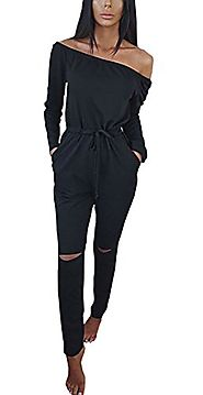 Hibluco Women's Sexy Off Shoulder Jumpsuits Knee Hole Pants Party Club Rompers (XX-Large, Black)