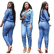 Women's Plus Size Jumpsuits Long Sleeve Casual Jean Rompers (2XL)