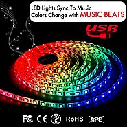Music LED Strip Lights 6.6FT/2M 5V USB Powered Light Strip 5050 RGB Light Color Changing with Music IP65 Waterproof L...