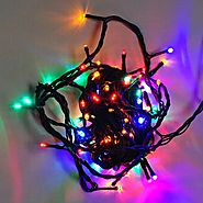 LEDwolesalers 33-ft 100-LED Red Green Blue Gradually Colors Changing Christmas Holiday Light String with Green Wire, ...