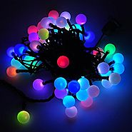 LED Color-Changing Linkable 16 Feet Christmas Light String with 50 RGB Globes, X070RGB