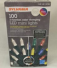 Sylvania Christmas Lights 3-function Color Changing Warm White Multi Color Connectable LED Mini Lights 100 count (1 b...