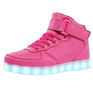 TUTUYU Kids 11 Colors LED Light Up Shoes High Top Fashion Flashing Sneakers Pink 39