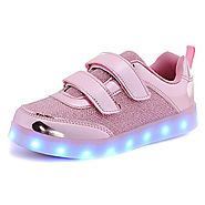 HOFISH Boys Girls Kids 7 LED Light Up Luminous Shoes USB Charge Casual Sneakers Pink
