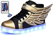 SLEVEL LED Light Up Shoes USB Flashing Sneakers for Kids Boys Girls(1100SGold36)