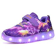 COODO CDR2006 Toddler Kids LED Shoes Girl's Flashing Light up Sneakers Purple-8